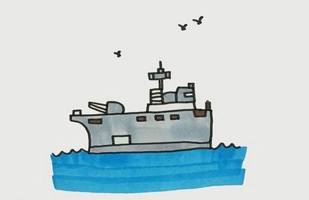 海上的军舰怎么画简笔画