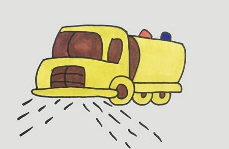 洒水车简笔画步骤图