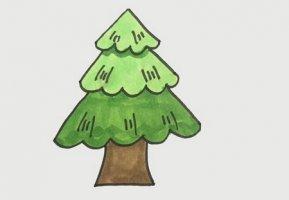 松树简笔画步骤图片带颜色