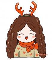圣诞节简单可爱驯鹿小女孩简笔画