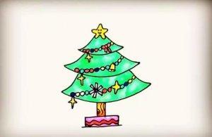 圣诞树简笔画怎么画步骤图解